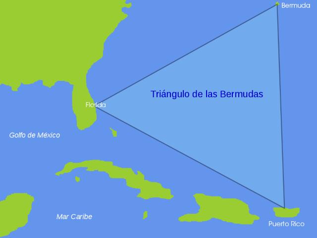 Το τρίγωνο των Βερμούδων στο Βόρειο Ατλαντικό ωκεανό - Χάρτης